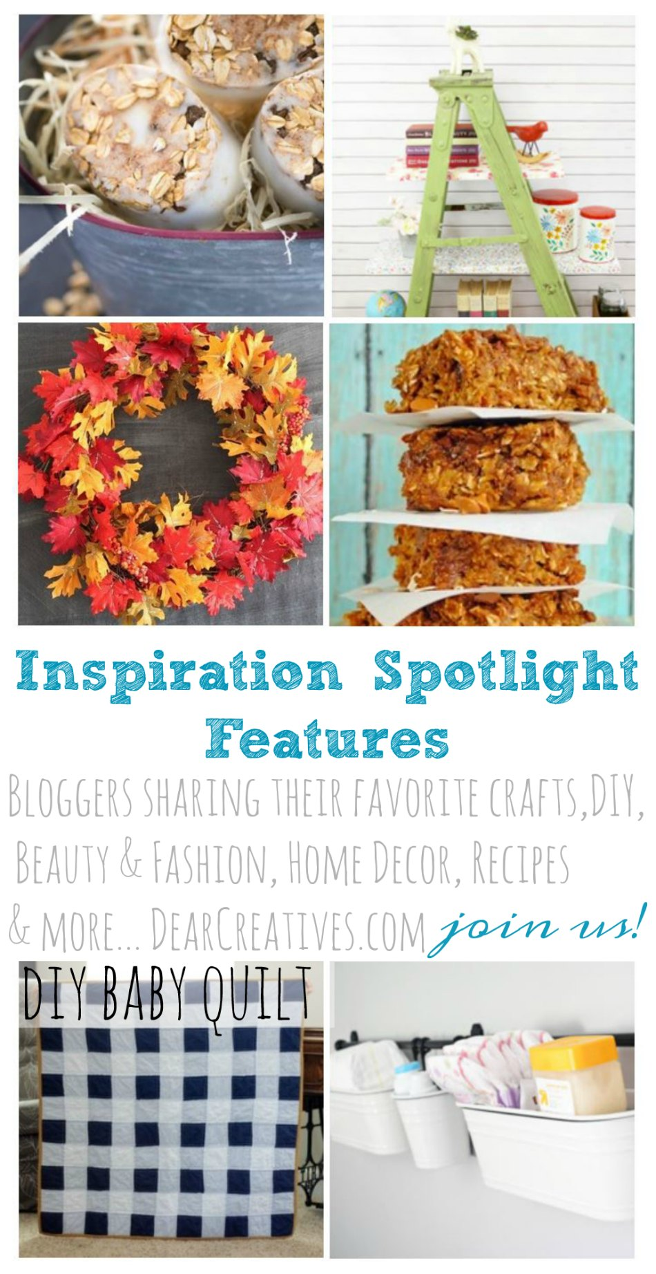 Linkup Party Inspiration Spotlight 209 DearCreatives.com bloggers sharing their favorite crafts, DIY beauty and fashion, home decor, recipes and more! So many ideas to pick from! Join us every Friday