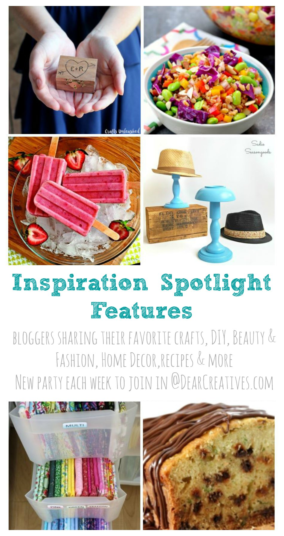 Linkup Party Inspiration Spotlight Party 206 Bloggers sharing their favorite crafts, DIY, recipes and more DearCreatives.com