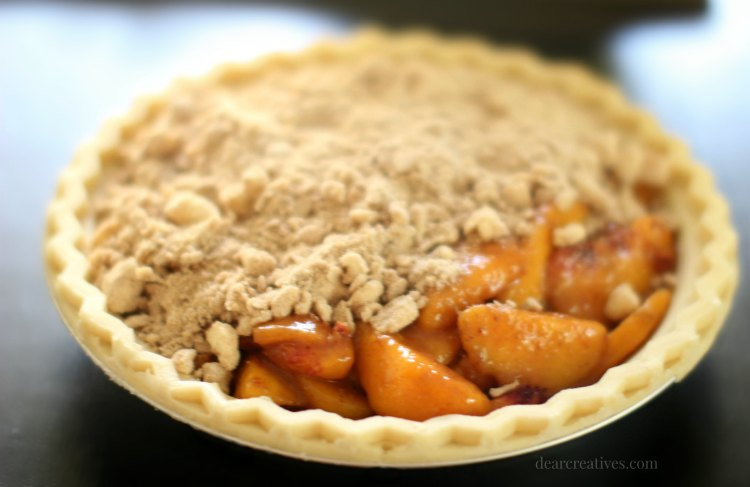 Peach Pie with crumb topping going on