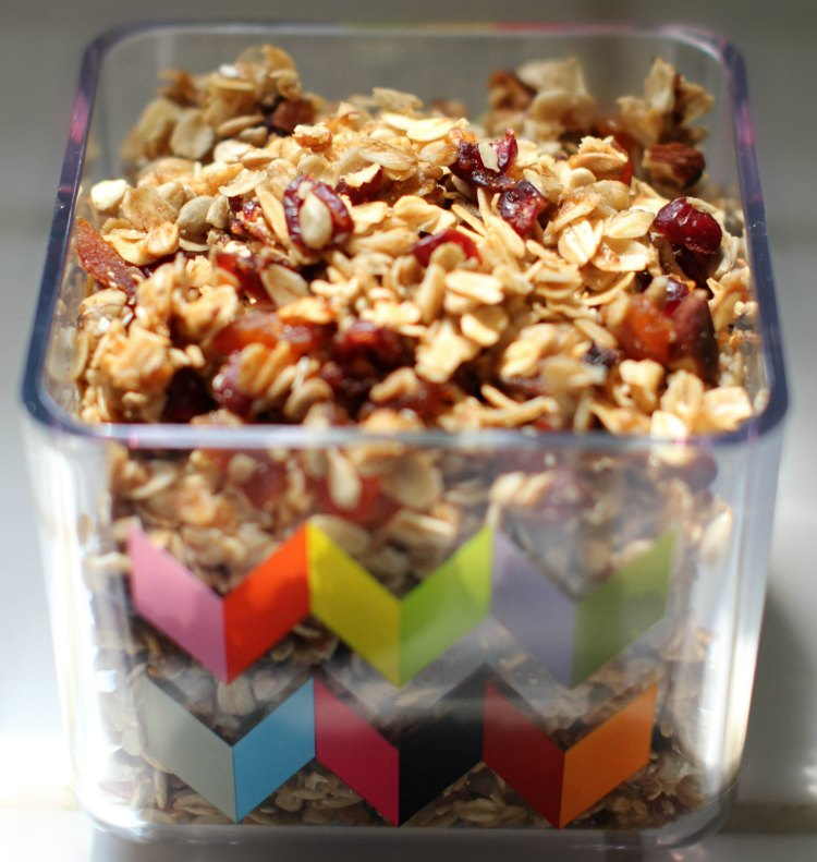 pantry storage homemade granola in storage container