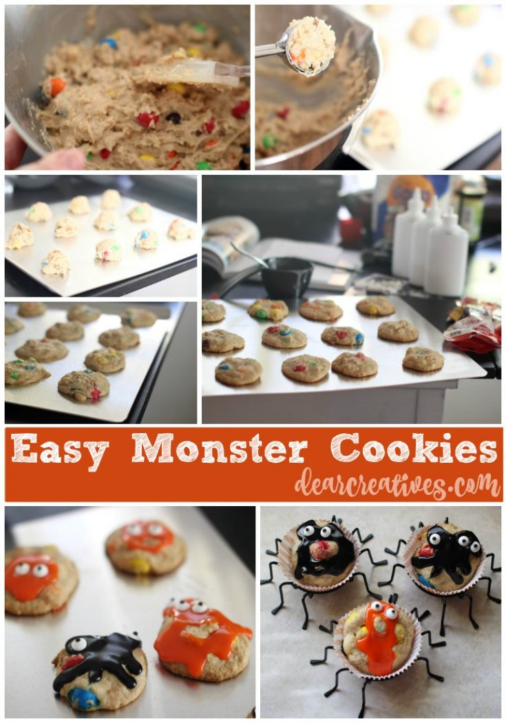 Halloween Monster Cookies- Easy to make and decorate with icing and googly eyes. You will love the free printable Halloween toppers that come with this Monster cookie recipe. Fun idea for Halloween celebrations.