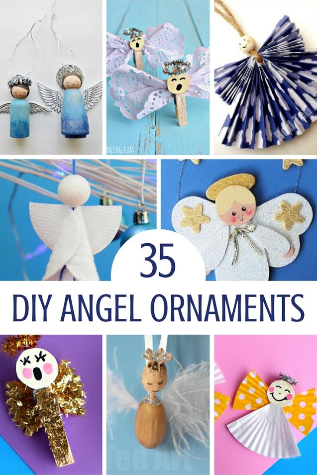 Angel Ornament Crafts | These are the sweetest angel ornaments a roundup of 35 easy holiday crafts diy projects. Many can be made with the kids. Hang your angels on a Christmas tree, banner, mantle or even add to a gift package. You'll enjoy making these holiday crafts.