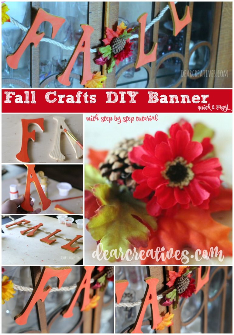 DIY Crafts Project Fall Banner with step by step tutorial for this quick and easy crafts project that anyone can do! Each step has an image to show you how to make your own, with a complete supply list for this banner or make one similar with the how to.