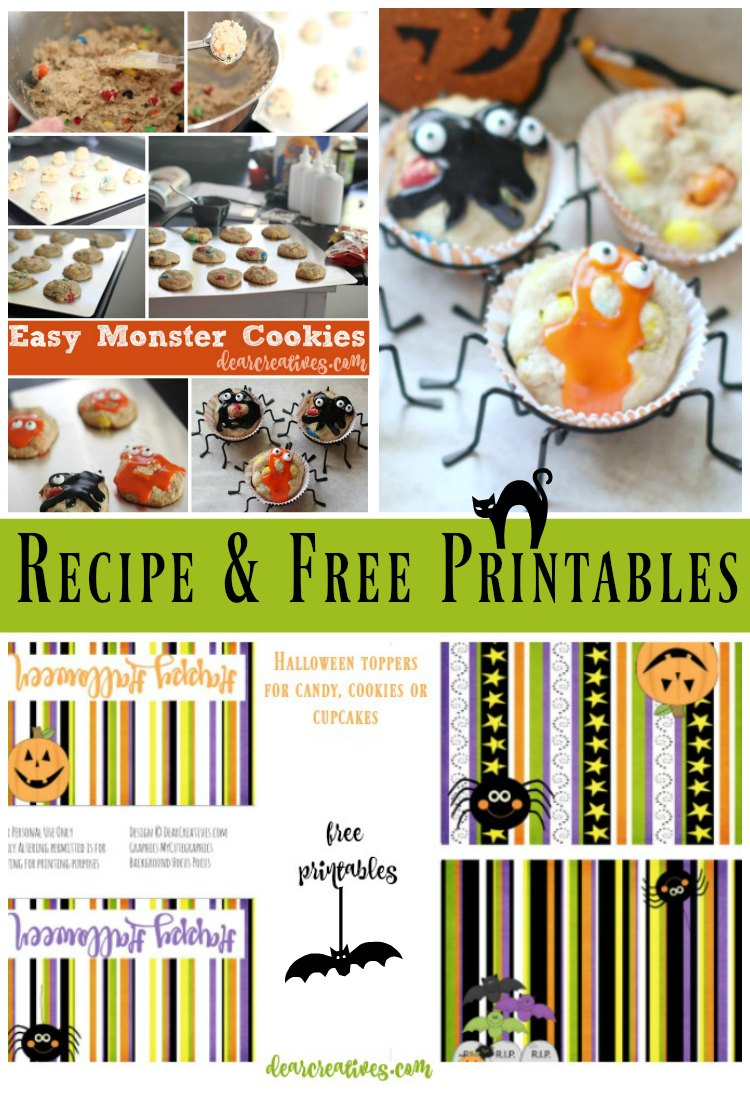 Halloween Monster Cookies With Free Halloween Treat Bag Toppers