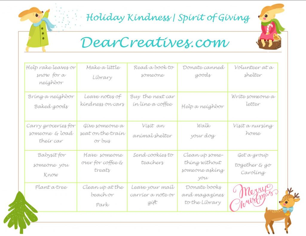 Holiday Spirit | Holiday Kindness | Calander of Ideas for Giving during the holiday season. | holiday-kindness-holiday-of-giving-calendar
