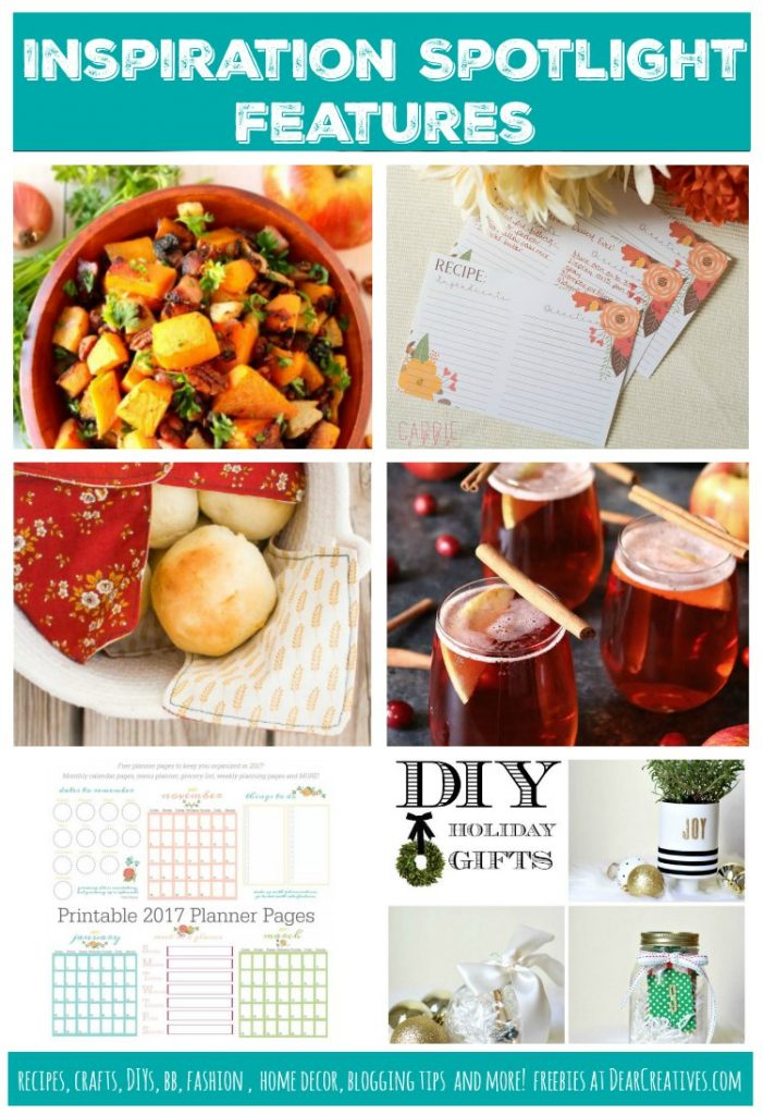 Linkup Party | Inspiration Spotlight Party Bloggers sharing their favorite crafts, DIYs, home decor ideas, recipes, beauty, fashion, blogging tips and more! Join in at DearCreatives.com