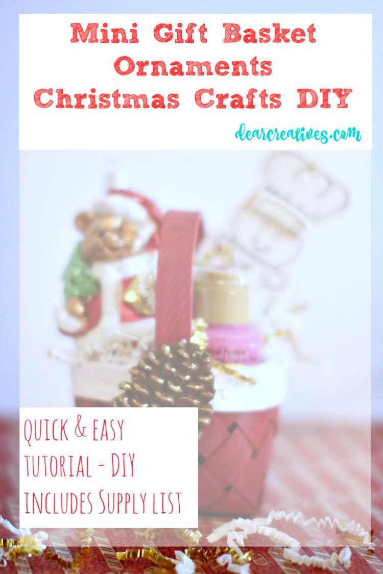 Easy DIY Christmas Crafts: Holiday Homemade Mini Gift Basket With Ornaments