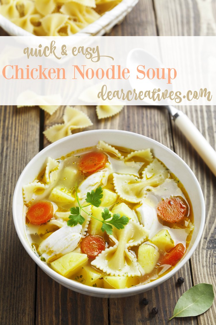 Easy Recipes: Chicken Noodle Soup Recipe quick and easy. You'll love this any day of the week. This is a one pot meal that can be served up in an hour or less.