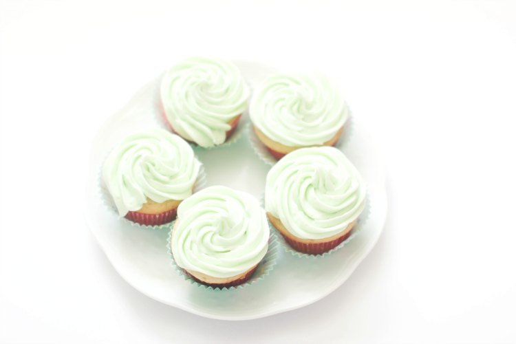 baking decorated cupcakes with a key lime frosting