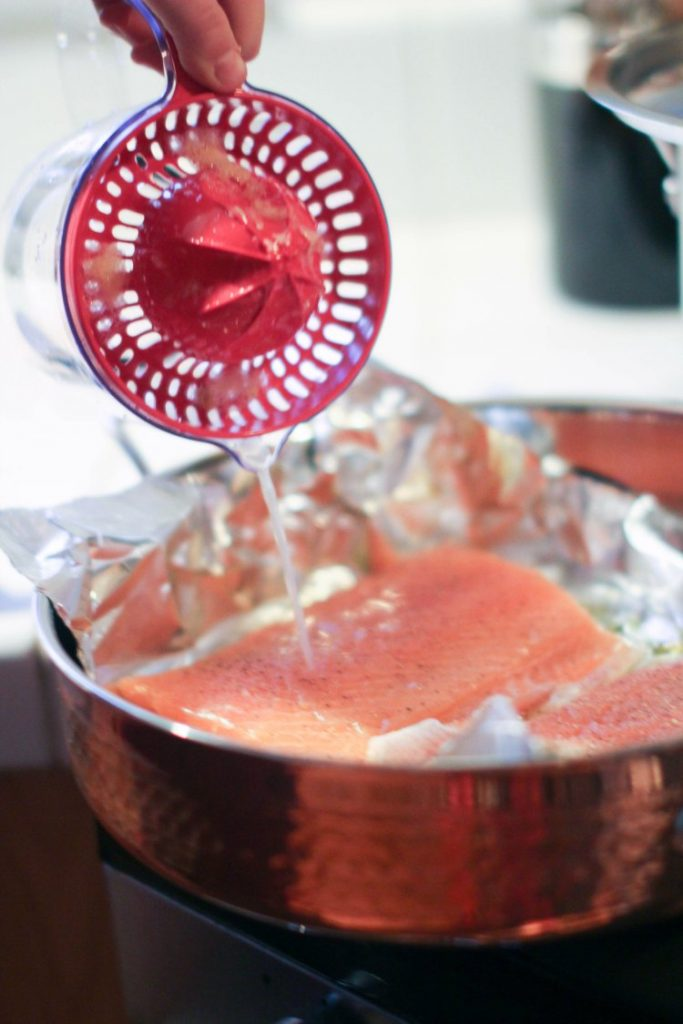 in the kithen- kitchen tools-cooking pouring lemon juice on salmon from T-fal citrus juicer © 2017 Theresa Huse
