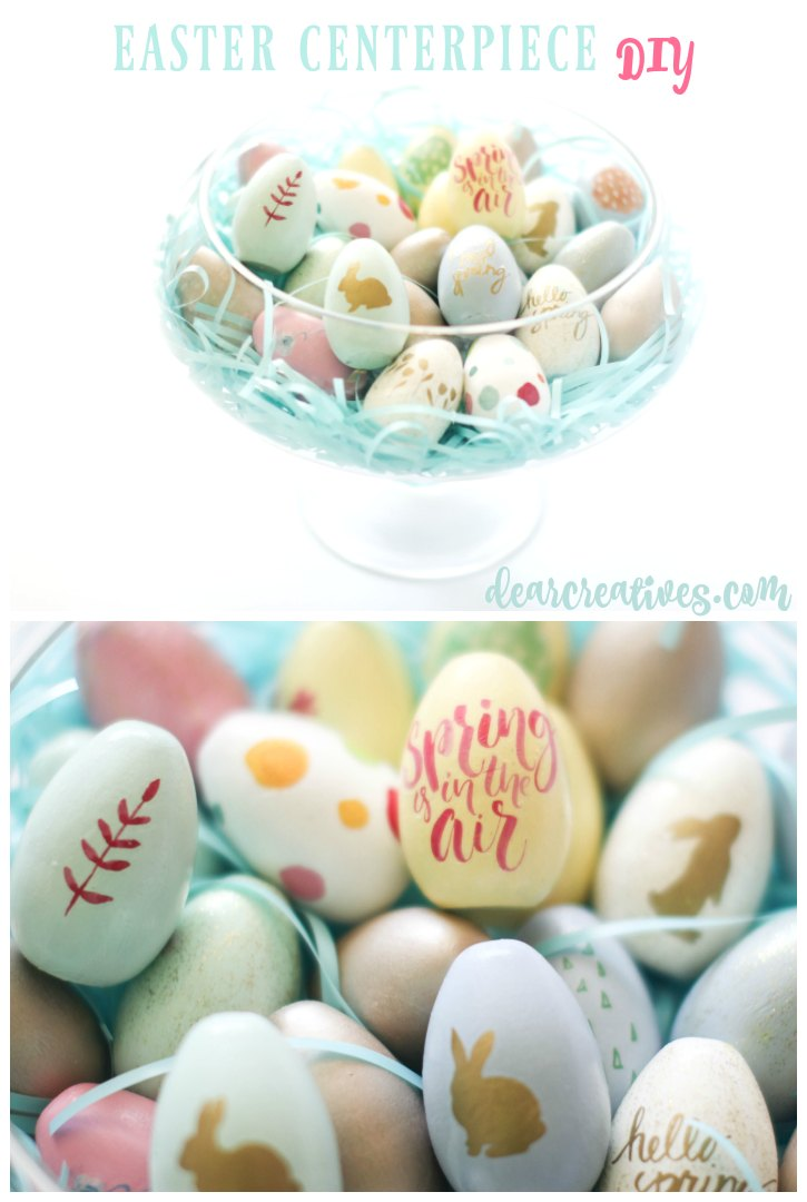 Spring Crafts Easter Centerpiece DIY with wooden painted decoupaged eggs