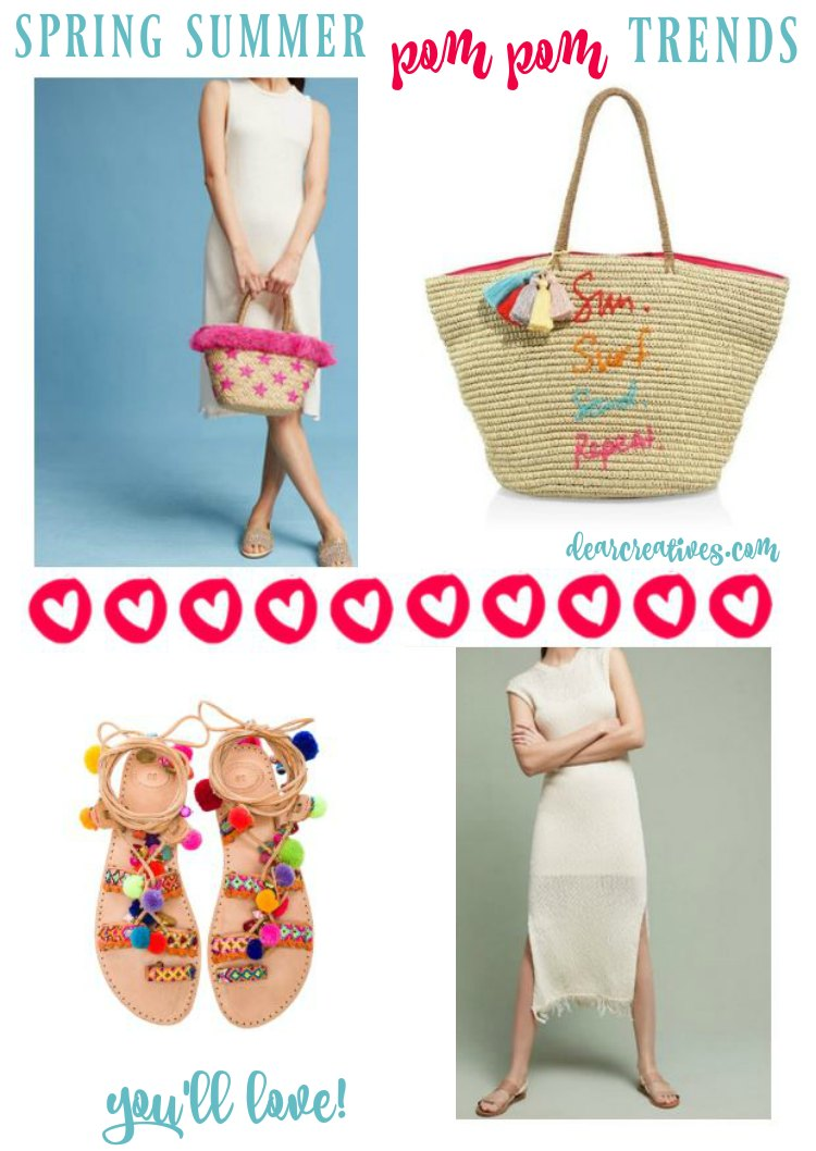Fashion Trends: pom pom trends for spring and summer. You'll love wearing and shopping for these awesome picks. You'll find straw hats, totes, accessories, jewelry. So many pom pom fashions to pick from!