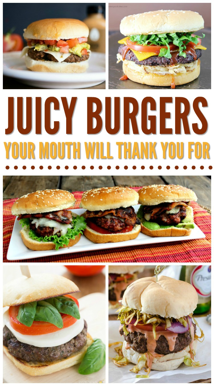 Hamburger Recipes: These are some of the best juicy burger recipes. You'll love grilling these up for Memorial day, the 4th of July or anytime during the summer. Even use your indoor grills for these recipes! So many juicy hamburger recipes to pick from!