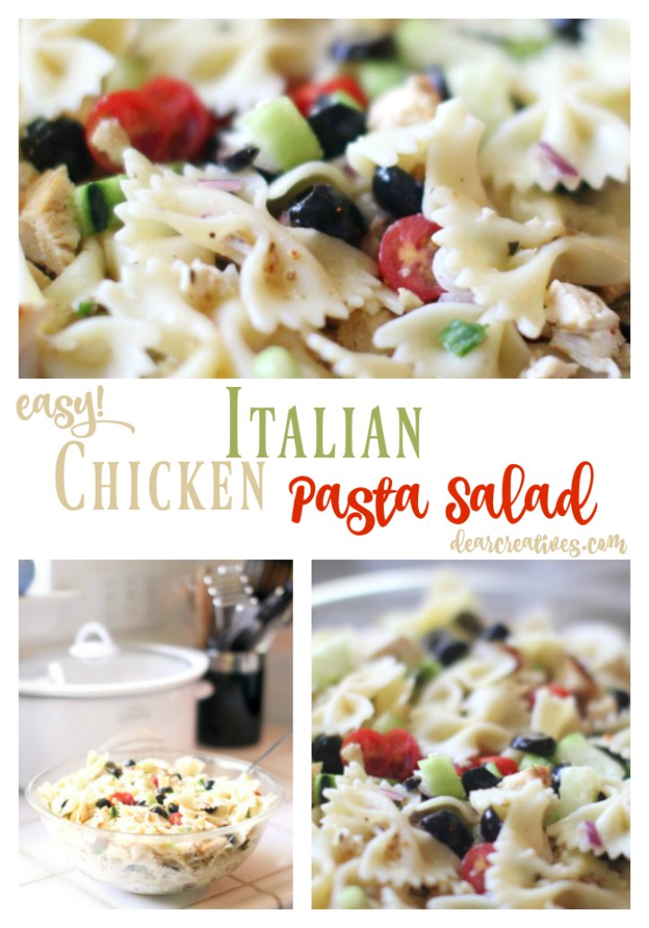 Salad Recipe: Pasta Salad Recipe. This Italian Chicken Salad Pasta Recipe is a quick and easy recipe that can be served anytime of year. You'll love this for a picnic, backyard party or brunch. This recipe also can be used for a light summer dinner.