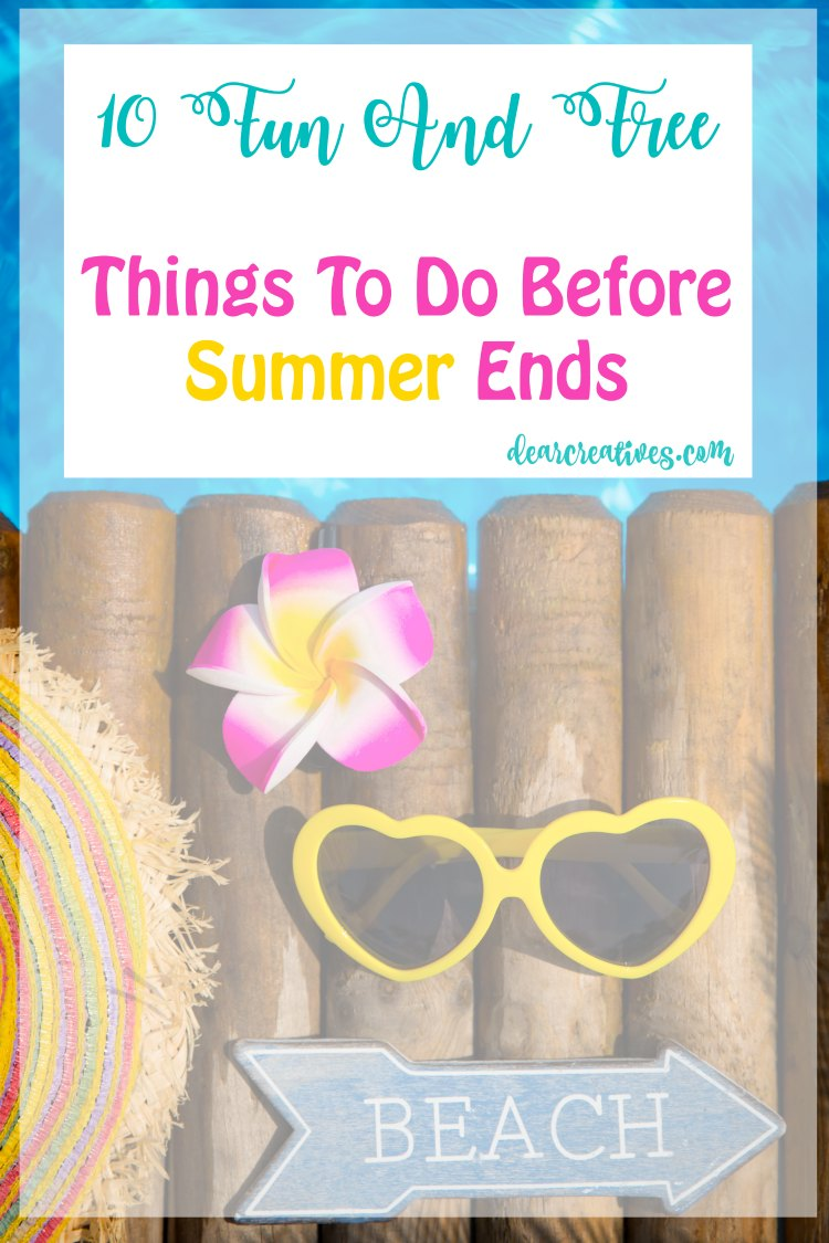 Fun and Free Things To Do Before Summer Ends! You'll love these 10 plus fun and free things to do with or without the kids this summer. Beat the boredom and have fun with all these ideas.
