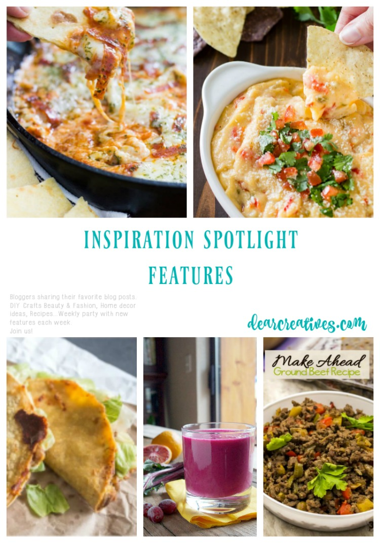 Linkup Party Inspiration Spotlight Bloggers sharing their favorite Crafts, DIY, home decor ideas, recipes, beauty, fashion and more. See these features and more ideas!