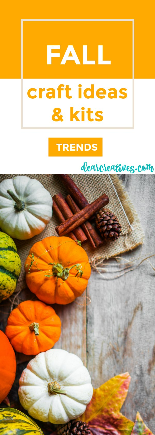 Fall craft ideas and craft kits perfect for making -crafting your own home decor accents. Bring fall indoors with these crafts. DearCreatives.com