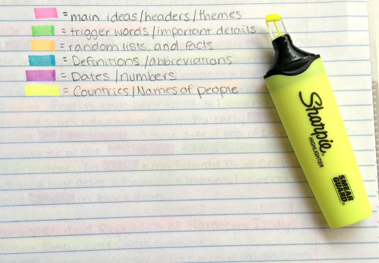 Study guide made with sharpie highlighters for back to school homework