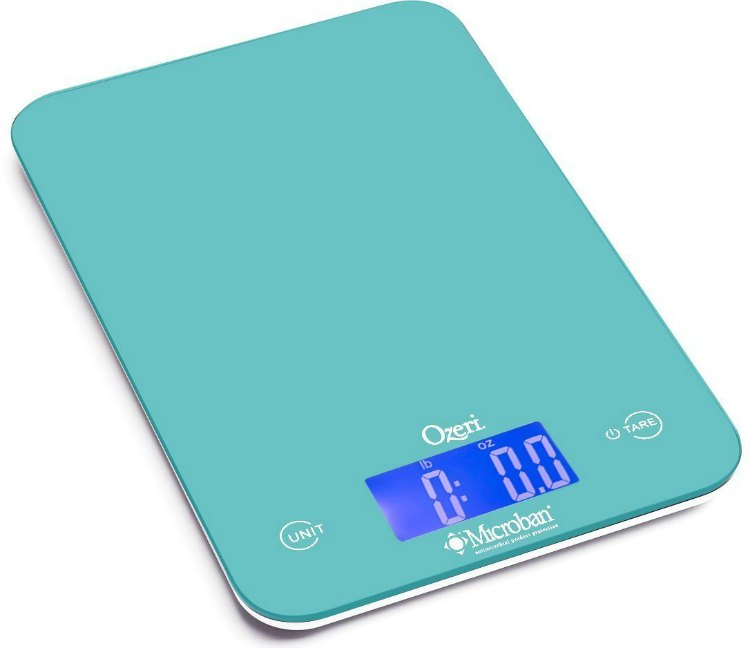 ozeri touch II scale in blue comes in white and red too.