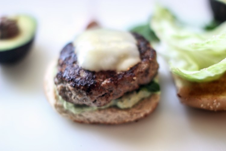 turkey hamburgers - DearCreatives.com turkey burger with avocado topping and melted cheese