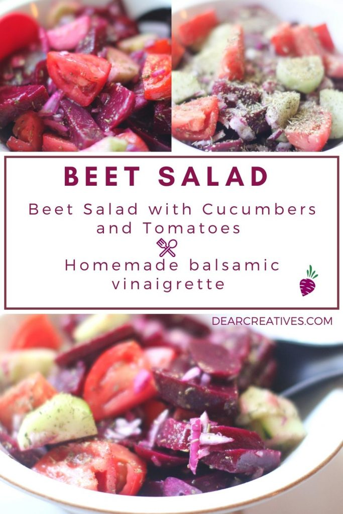 Beet Salad - Easy beet salad recipe - made with beets, cucumbers and tomatoes... Includes a homemade vinaigrette dressing. #beetsalad #beetsaladrecipe