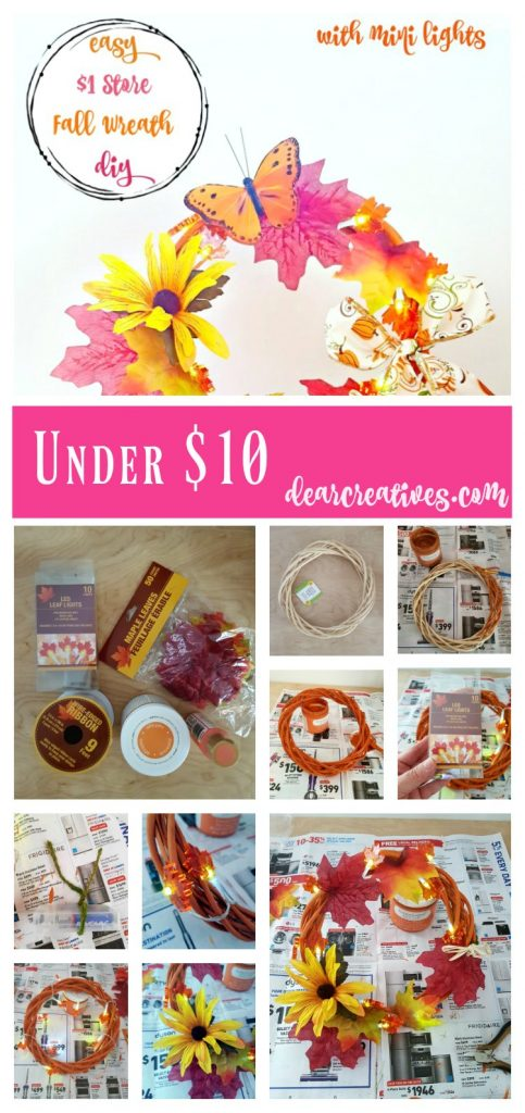 Easy Dollar Store Fall Wreath DIY this is an easy grapevine wreath idea, under $10. and has mini lights. Add this to your fall decor. Make it now. See tutorial at DearCreatives.com
