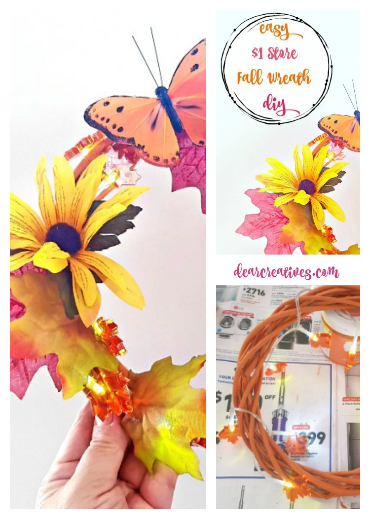 Make it Now! Inexpensive, Easy Fall Dollar Store Wreath With Lights