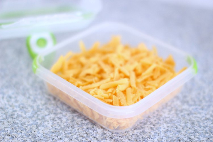 Food Storage Containers Review DearCreatives.com-Shredded cheese in a food container