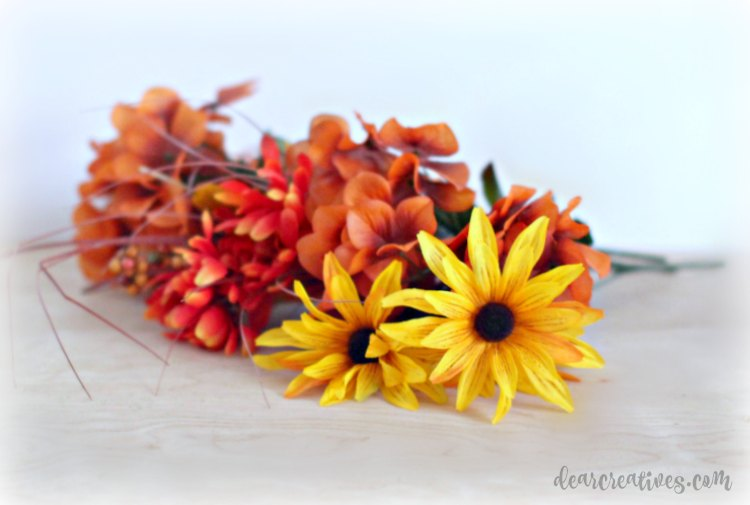 fall colored satin flowers for decorating for fall. See how easy it is to decorate your home- DearCreatives.com
