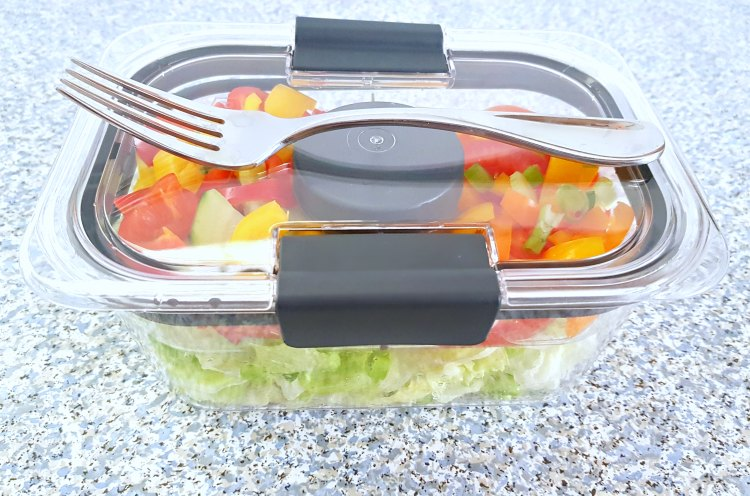 food storage container for salad with fork ready for on-the-go lunches. DearCreatives.com