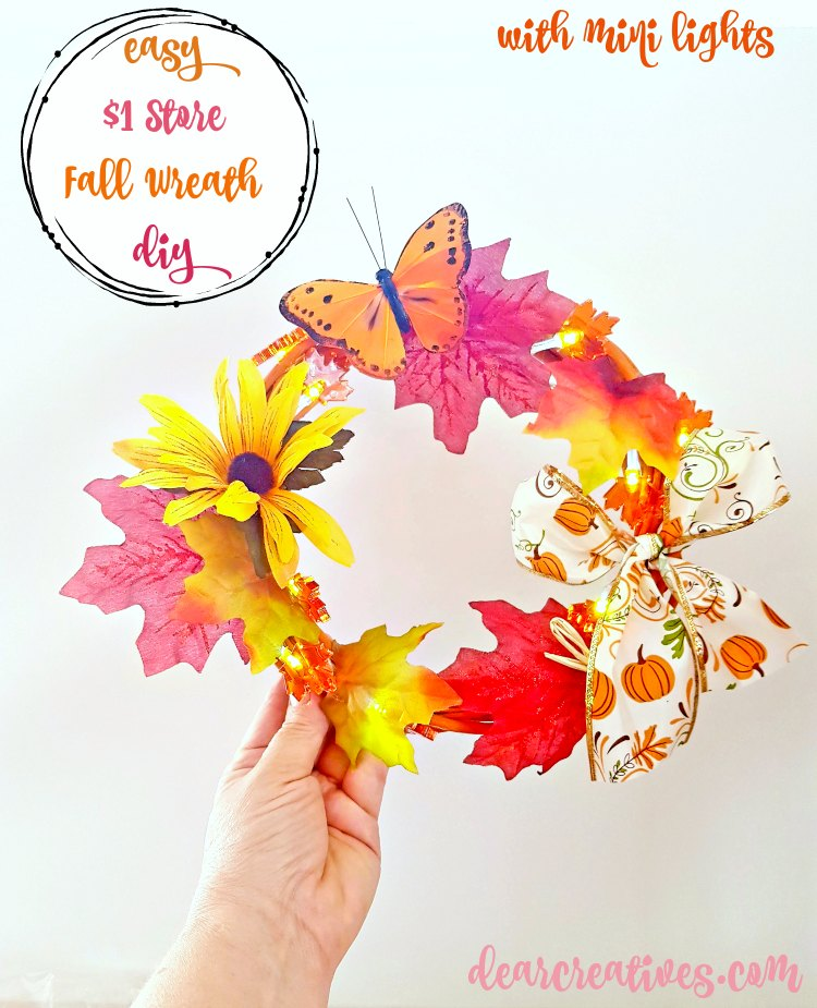 grapevine wreath ideas Dollar Store Fall Wreath With Mini Lights DIY find this craft project and more at DearCreatives.com Must make for fall home decor. So easy! Make one now!