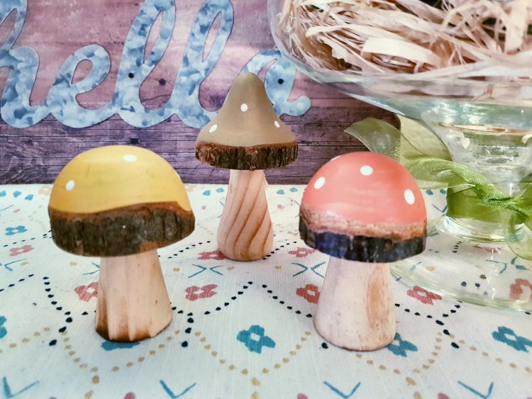 home decor accents wooden mushrooms