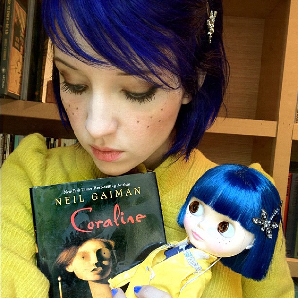 Coraline makeup, book, and doll