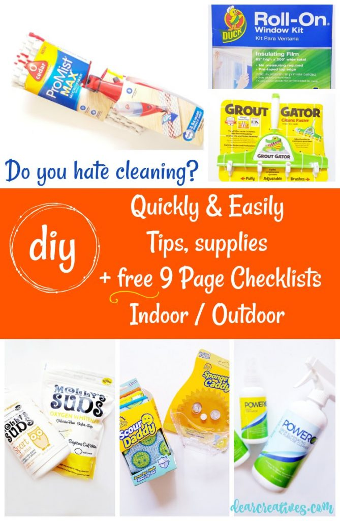 Do you hate cleaning Do it quickly and easier with these tips, supply ideas, and FREE 9 page checklists. Perfect for fall and winter. Grab the Fall Winter Cleaning Checklist, get ready to winterize your home, and the cleaning tips at DearCreatives.com