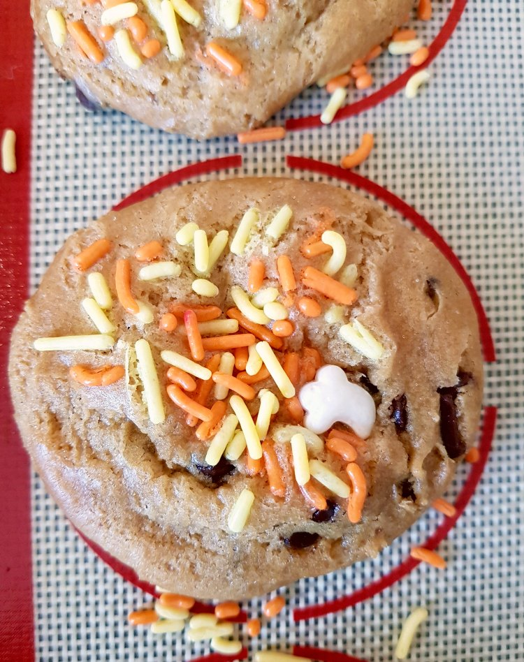 Easy Chocolate Chip Cookies decorated for Halloween