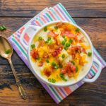 Potato soup with garnishes of cheddar cheese, diced green onions, and bacon. Easy 30 minute recipe. #soup #potatosoup #loadedpotatosoup DearCreatives.com
