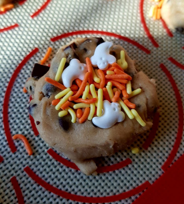 chocolate chip cookie dough with Halloween sprinkles. An easy Halloween treat recipe.