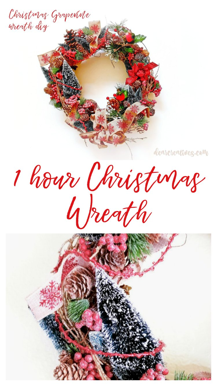 1 hour Christmas Wreath Tutorial #christmaswreath #christmaswreathDIY #easychristmaswreath #howtomakeachristmaswreath #christmaswreathgrapevine