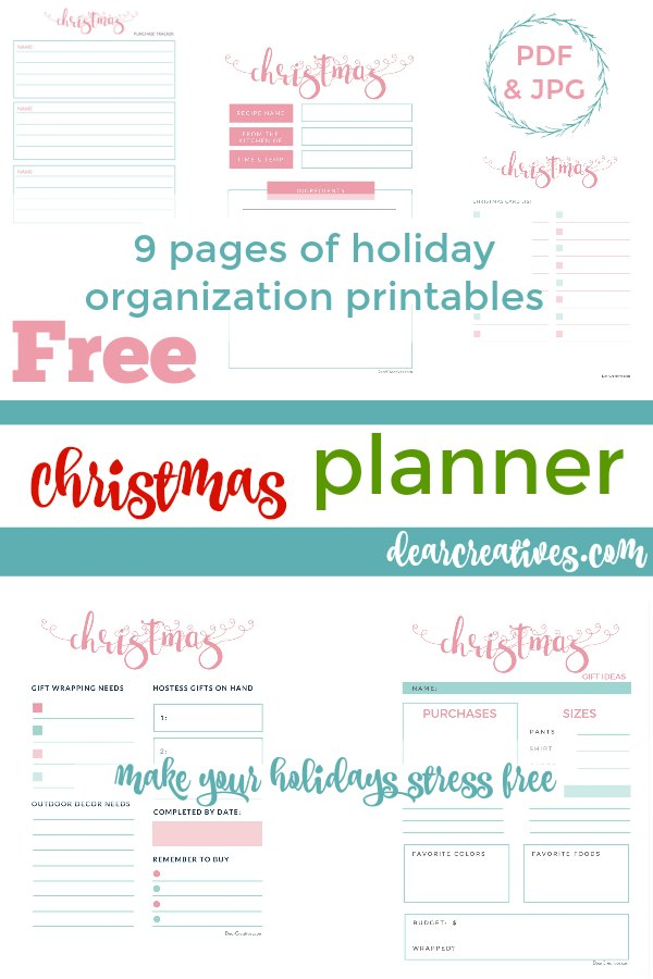 Christmas Planner Printables Grab your own set of free printables - 9 Pages in this Christmas Planner Pages that will help make your holidays stress free and organize you. Packed with Christmas planning checklists