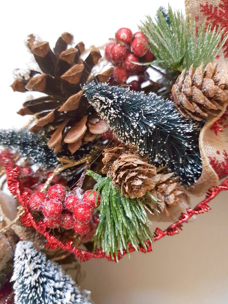 Christmas Wreath - Close up of grapevine wreath decorated for Christmas DearCreatives.com