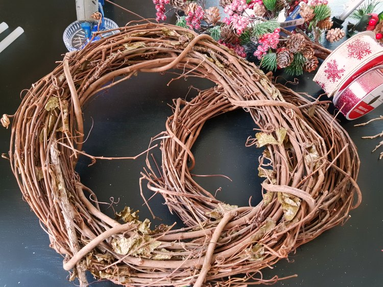 Christmas holiday supplies, grapevine wreaths, wired ribbon, floral sprays See tutorial at DearCreatives.com