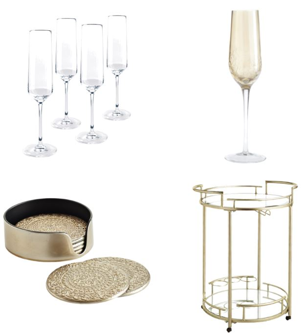Cocktail cart, champagne flutes, coasters, items you need for serving drinks at a party or holiday gathering