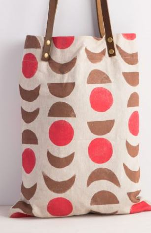 Hand Stamped Tote with leather handles