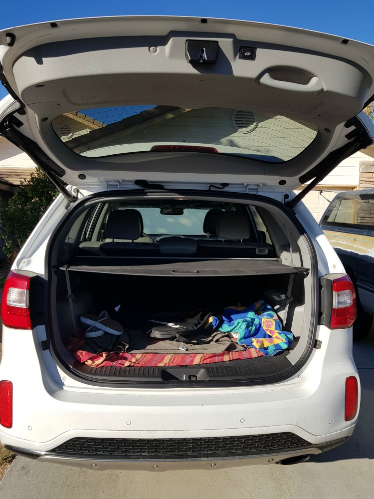 Looking in the trunk of car for missing tennis racket with tile on it.