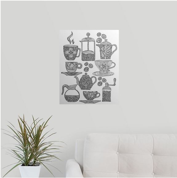 coloring canvas hanging in a livingroom