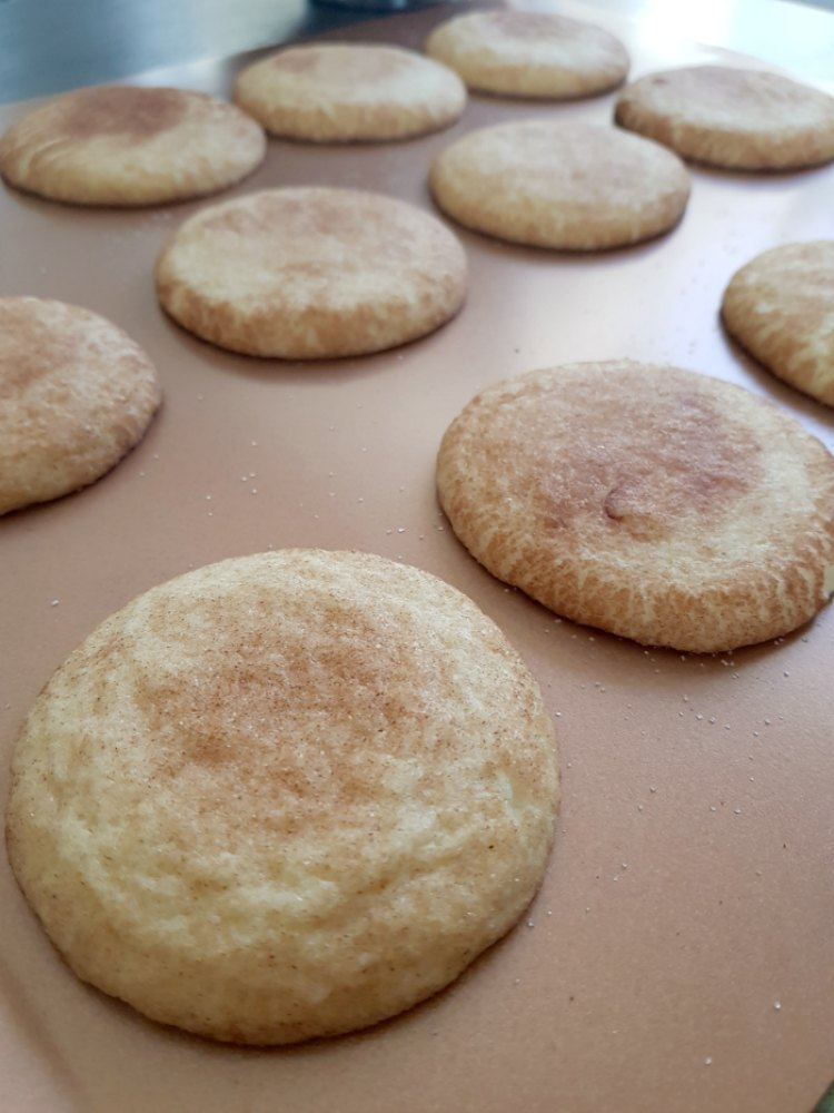 Snickerdoodle cookies just taken out of the oven. DearCreatives.com