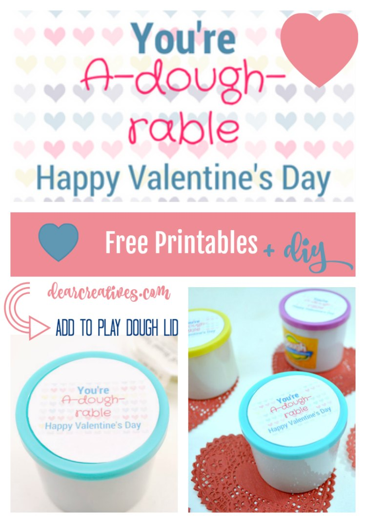 Valentine's Day free printable. You'll love this easy DIY make one or a bunch for a kids classroom. Add this free printable to Play-doh, or make homemade play dough. #ValentinesDay #freeprintables #playdough #DIY DearCreatives.com