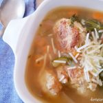 chicken meatballs, zucchini, carrots, spinach, soup in a bowl #chickenmeatballsoup © DearCreatives.com