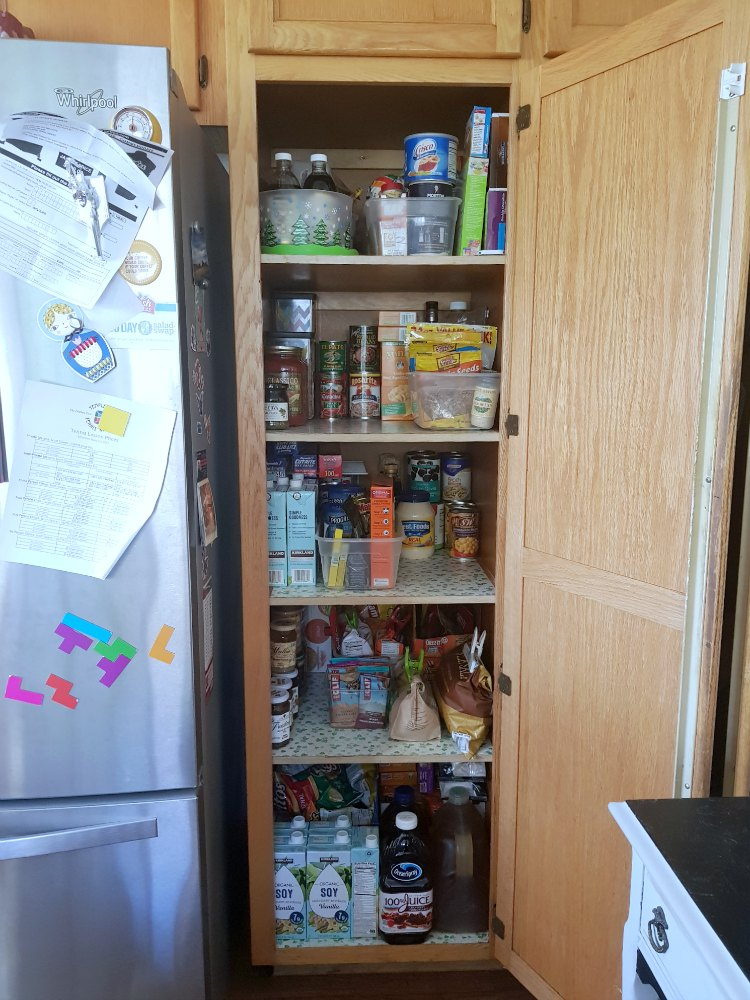 Cleaned pantry that is restocked