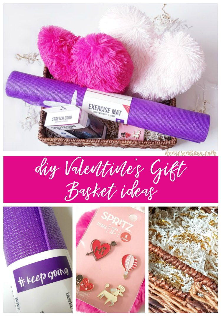 DIY Valentine's Day Gift Basket ideas to make at home. #valentinesday #giftbaskets #DIY DearCreatives.com